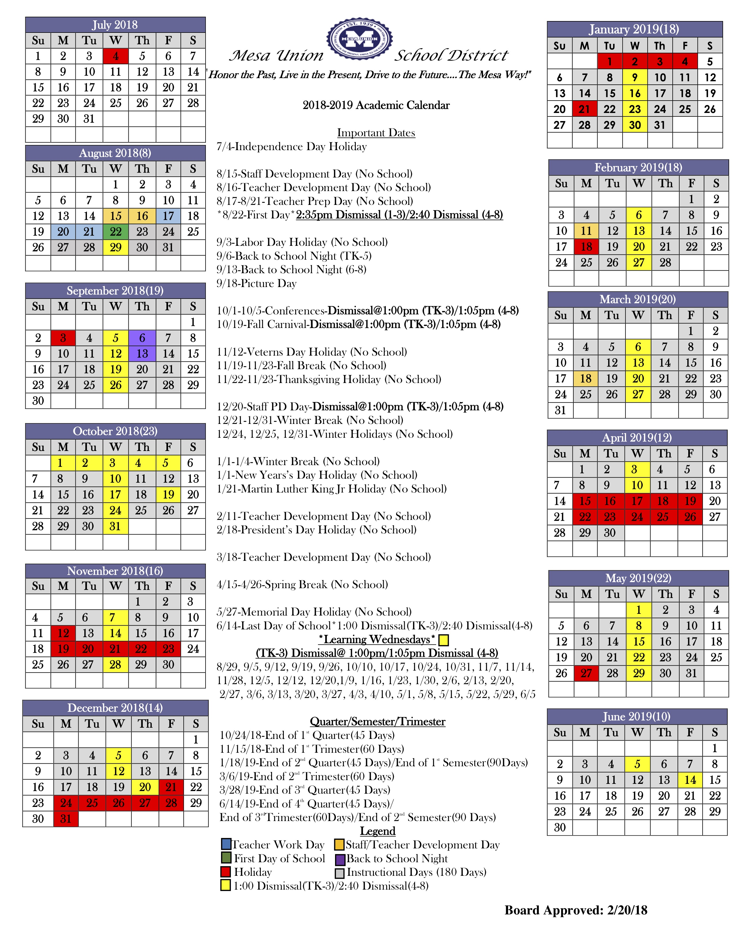 Mesa Public Schools Calendar 2020 School district 60 calendar 2018